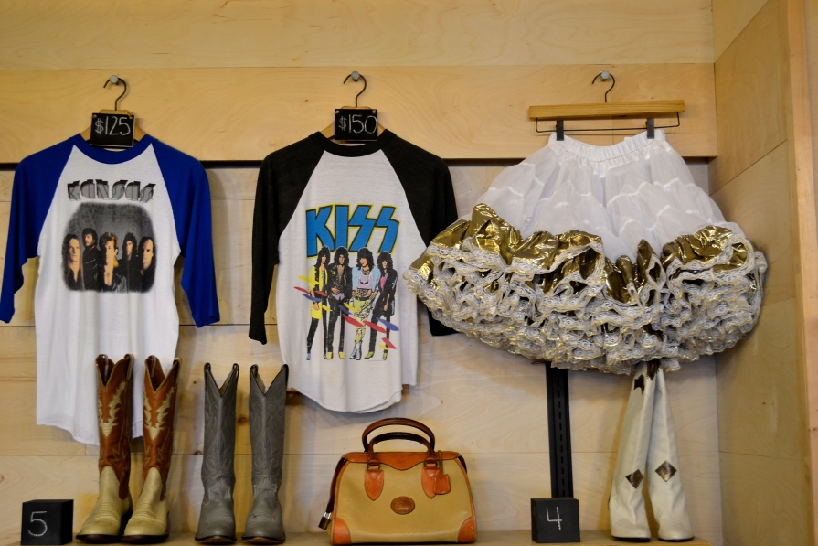 Original T-shirts from famous rock tours of bands, like Kiss and Kansas, adorn the walls of the store and sell for at least $150.