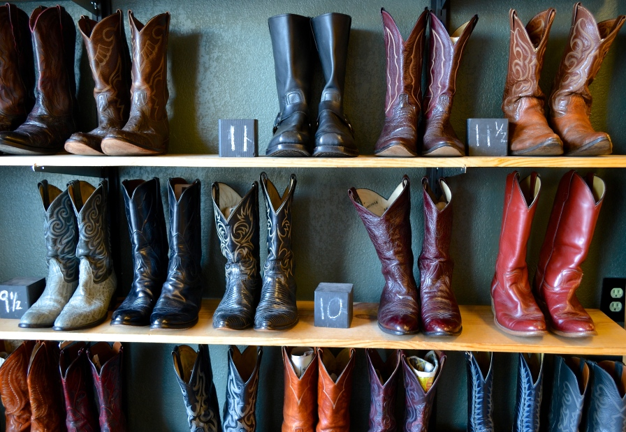 """Watkins explained that when picking out items for the store, the personality of the items themselves was the most important part. """"We look for detailed stuff. We have a pair of boots right now that are manta ray—like they are made of manta ray skin."""""""